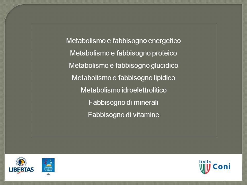 Metabolismo e fabbisogno energetico Metabolismo e fabbisogno proteico Metabolismo e fabbisogno glucidico Metabolismo e fabbisogno lipidico Metabolismo