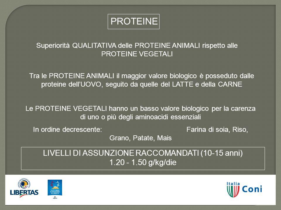 Superiorità QUALITATIVA delle PROTEINE ANIMALI rispetto alle PROTEINE VEGETALI Tra le PROTEINE ANIMALI il maggior valore biologico è posseduto dalle p