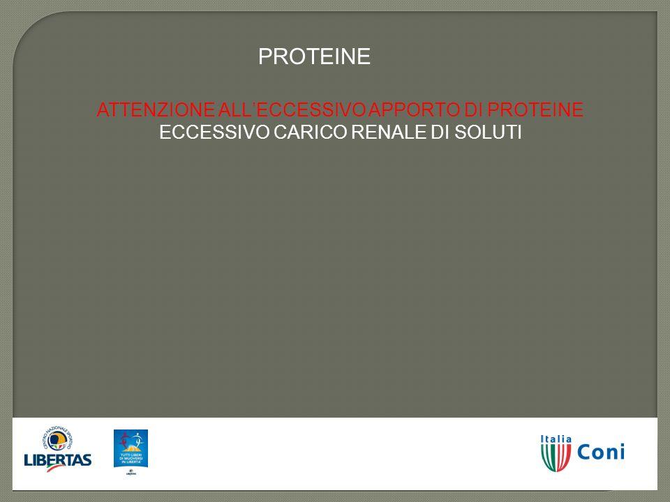 ATTENZIONE ALLECCESSIVO APPORTO DI PROTEINE ECCESSIVO CARICO RENALE DI SOLUTI PROTEINE