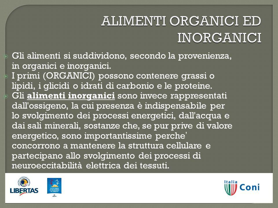 ALIMENTI ORGANICI ED INORGANICI Gli alimenti si suddividono, secondo la provenienza, in organici e inorganici. I primi (ORGANICI) possono contenere gr