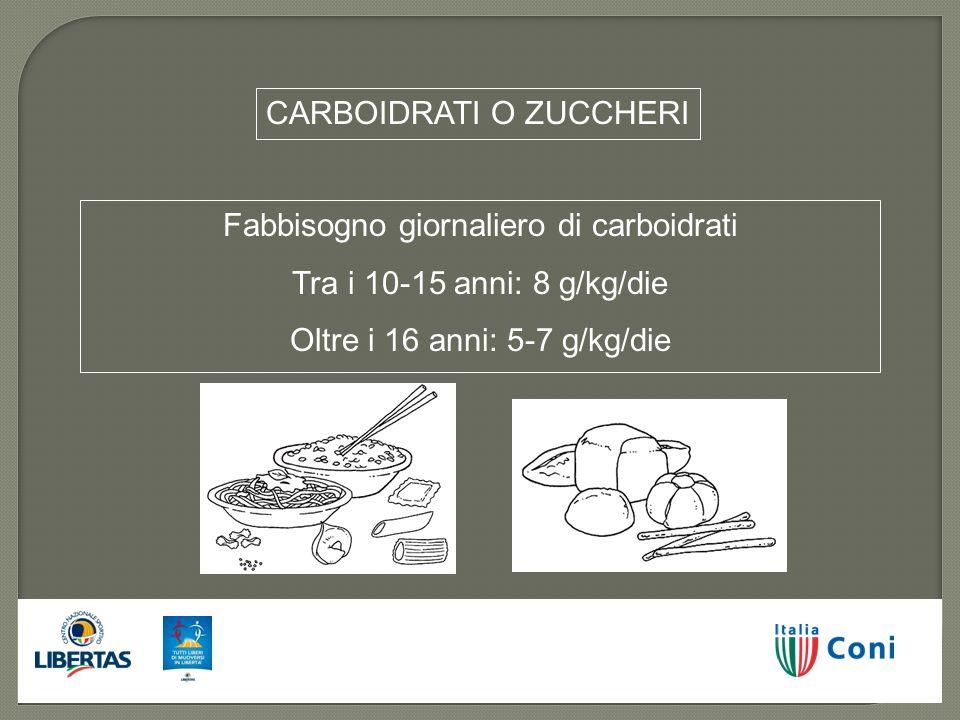 Fabbisogno giornaliero di carboidrati Tra i 10-15 anni: 8 g/kg/die Oltre i 16 anni: 5-7 g/kg/die CARBOIDRATI O ZUCCHERI