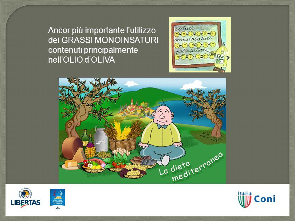 Ancor più importante lutilizzo dei GRASSI MONOINSATURI contenuti principalmente nellOLIO dOLIVA