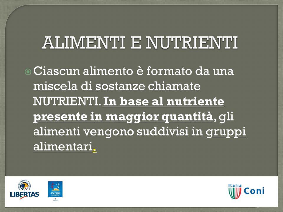 ALIMENTI E NUTRIENTI gruppi alimentari. Ciascun alimento è formato da una miscela di sostanze chiamate NUTRIENTI. In base al nutriente presente in mag