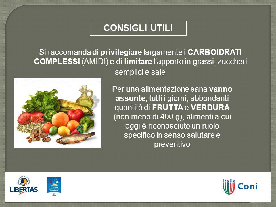 Si raccomanda di privilegiare largamente i CARBOIDRATI COMPLESSI (AMIDI) e di limitare lapporto in grassi, zuccheri semplici e sale Per una alimentazi