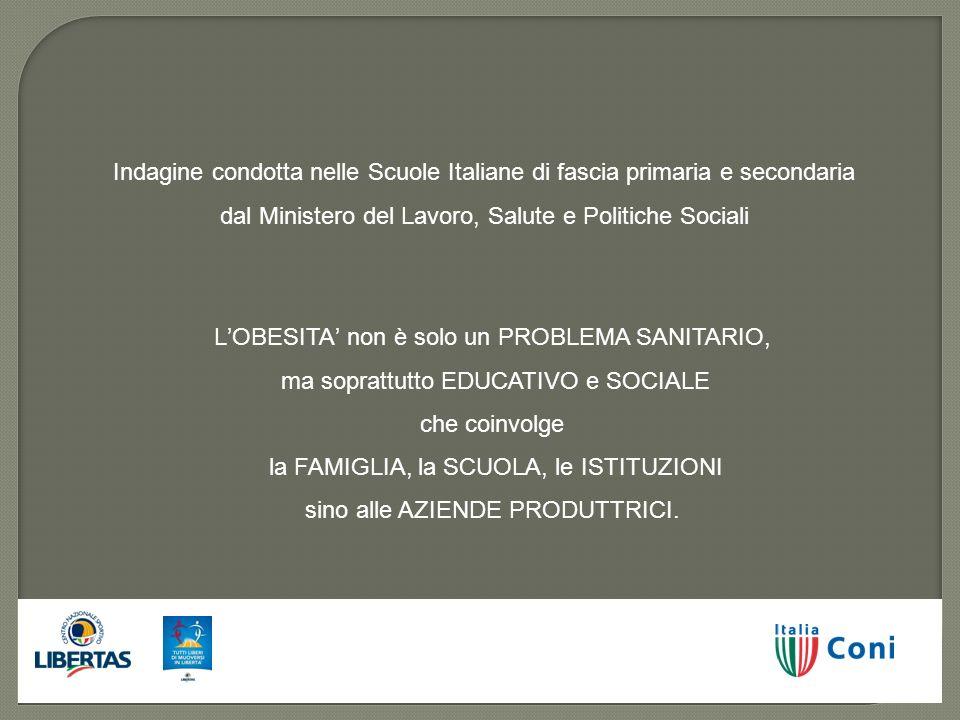 Indagine condotta nelle Scuole Italiane di fascia primaria e secondaria dal Ministero del Lavoro, Salute e Politiche Sociali LOBESITA non è solo un PR