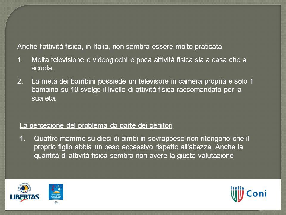 Anche lattività fisica, in Italia, non sembra essere molto praticata 1.Molta televisione e videogiochi e poca attività fisica sia a casa che a scuola.
