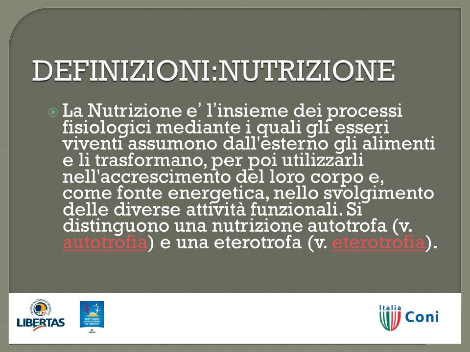DEFINIZIONI:NUTRIZIONE La Nutrizione e linsieme dei processi fisiologici mediante i quali gli esseri viventi assumono dall'esterno gli alimenti e li t