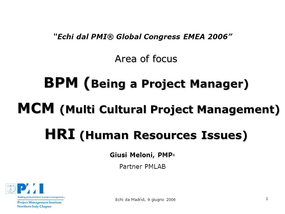 Echi da Madrid, 9 giugno 2006 1 Echi dal PMI® Global Congress EMEA 2006 Area of focus BPM ( Being a Project Manager) MCM ( Multi Cultural Project Management ) MCM ( Multi Cultural Project Management ) HRI (Human Resources Issues) Giusi Meloni, PMP ® Partner PMLAB