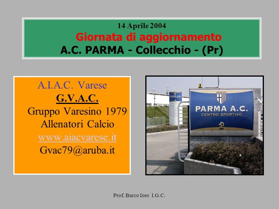 Prof. Barco Iseo I.G.C. 14 Aprile 2004 Giornata di aggiornamento A.C. PARMA - Collecchio - (Pr) A.I.A.C. Varese G.V.A.C. Gruppo Varesino 1979 Allenato