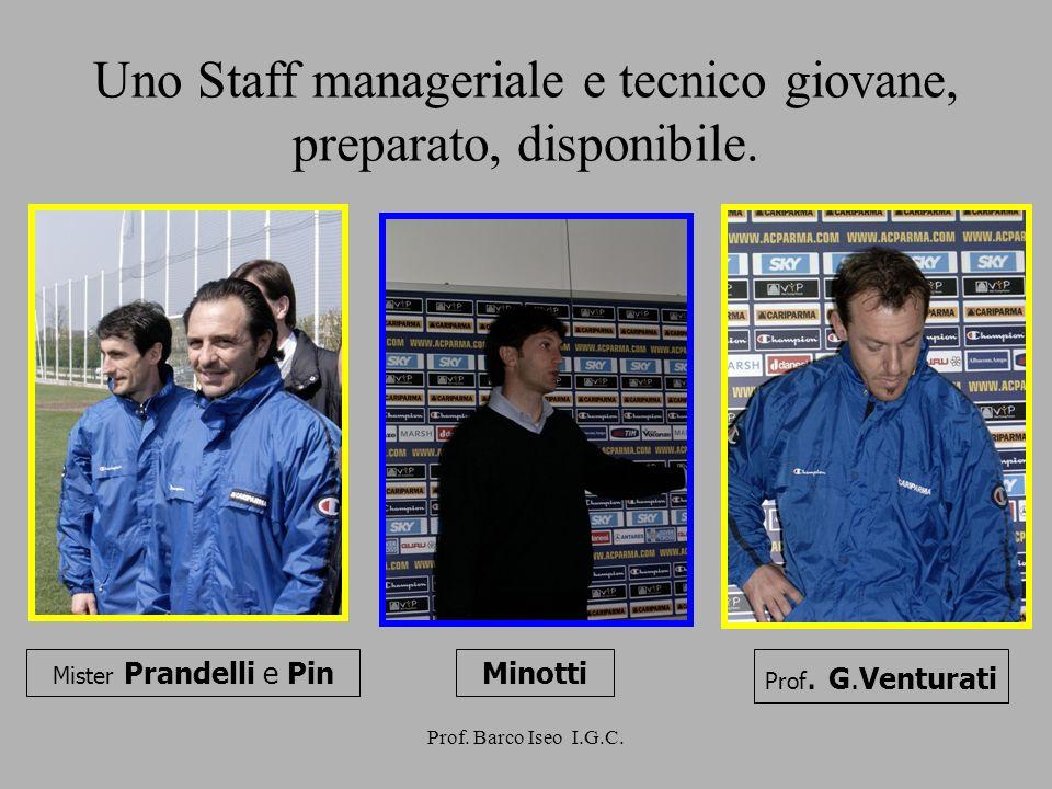 Prof. Barco Iseo I.G.C. Uno Staff manageriale e tecnico giovane, preparato, disponibile. Minotti Prof. G.Venturati Mister Prandelli e Pin