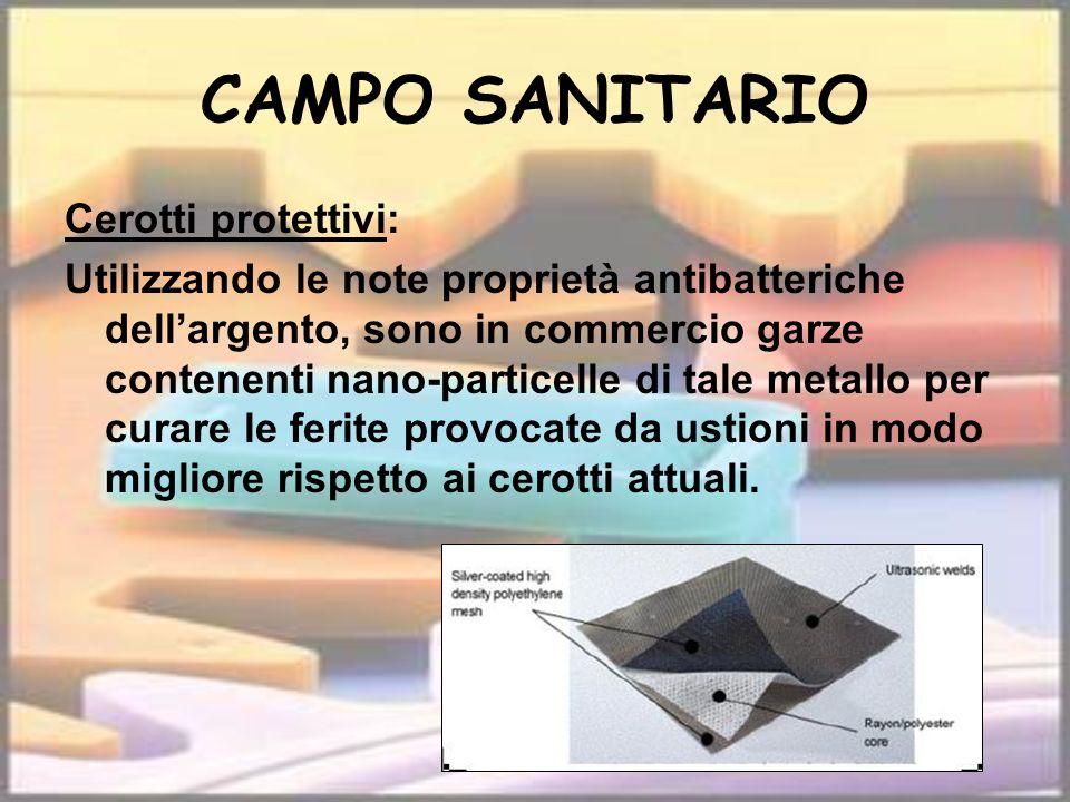 CAMPO SANITARIO Cerotti protettivi: Utilizzando le note proprietà antibatteriche dellargento, sono in commercio garze contenenti nano-particelle di ta