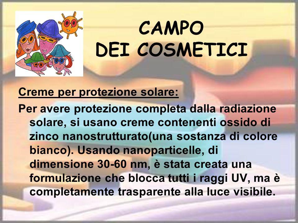 CAMPO DEI COSMETICI Creme per protezione solare: Per avere protezione completa dalla radiazione solare, si usano creme contenenti ossido di zinco nano
