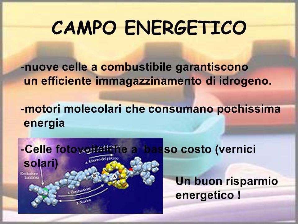 CAMPO ENERGETICO -nuove celle a combustibile garantiscono un efficiente immagazzinamento di idrogeno. -motori molecolari che consumano pochissima ener