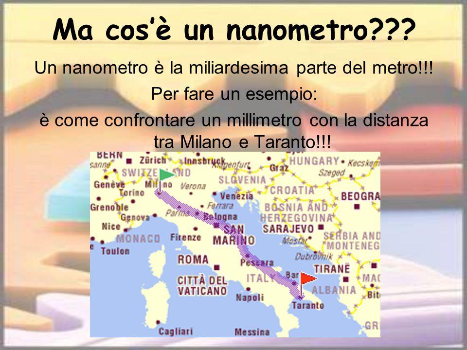 Ma cosè un nanometro??? Un nanometro è la miliardesima parte del metro!!! Per fare un esempio: è come confrontare un millimetro con la distanza tra Mi