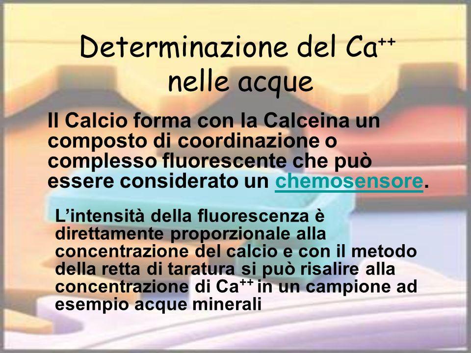 Determinazione del Ca ++ nelle acque Il Calcio forma con la Calceina un composto di coordinazione o complesso fluorescente che può essere considerato