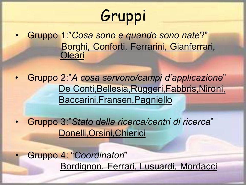 Gruppi Gruppo 1:Cosa sono e quando sono nate? Borghi, Conforti, Ferrarini, Gianferrari, Oleari Gruppo 2:A cosa servono/campi dapplicazione De Conti,Be