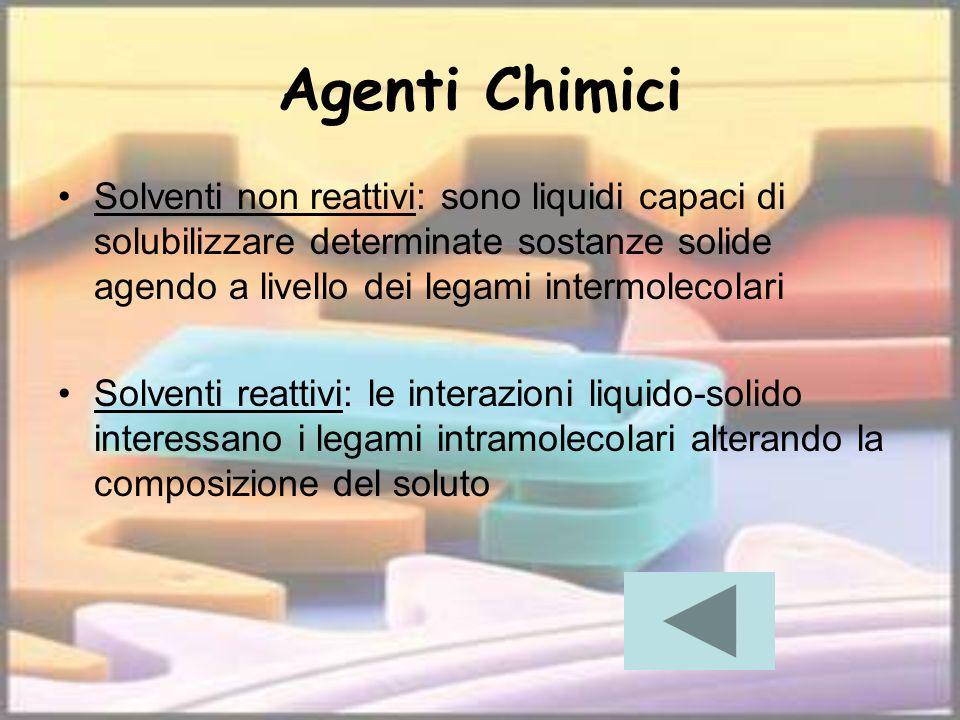 Agenti Chimici Solventi non reattivi: sono liquidi capaci di solubilizzare determinate sostanze solide agendo a livello dei legami intermolecolari Sol
