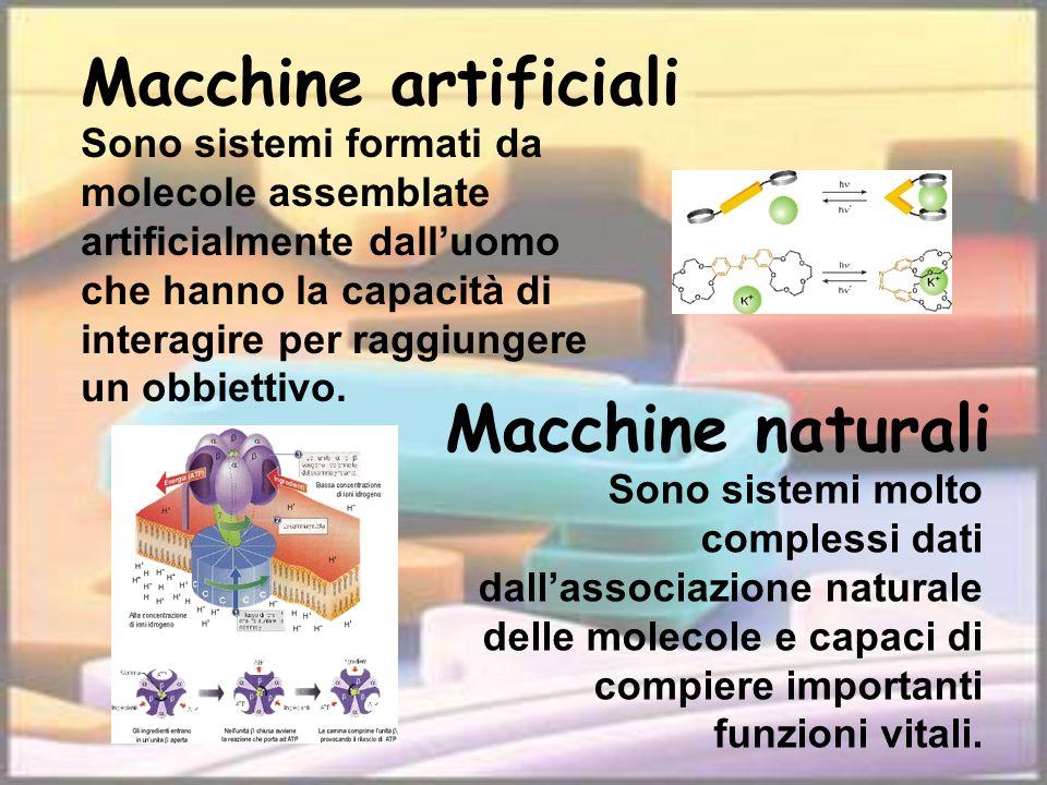 Sono sistemi formati da molecole assemblate artificialmente dalluomo che hanno la capacità di interagire per raggiungere un obbiettivo. Macchine artif