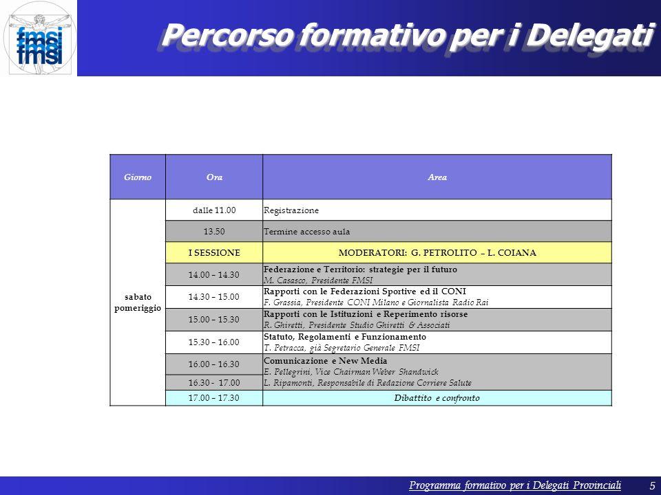 5 Percorso formativo per i Delegati GiornoOraArea sabato pomeriggio dalle 11.00Registrazione 13.50Termine accesso aula I SESSIONEMODERATORI: G.