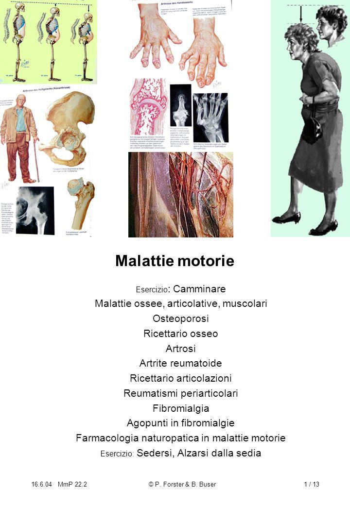 16.6.04 MmP 22.2© P. Forster & B. Buser1 / 13 Malattie motorie Esercizio : Camminare Malattie ossee, articolative, muscolari Osteoporosi Ricettario os