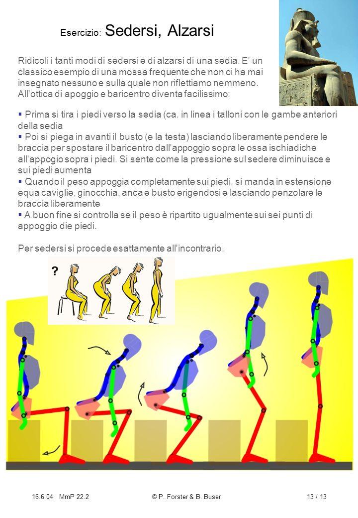 16.6.04 MmP 22.2© P. Forster & B. Buser13 / 13 Esercizio: Sedersi, Alzarsi Ridicoli i tanti modi di sedersi e di alzarsi di una sedia. E' un classico