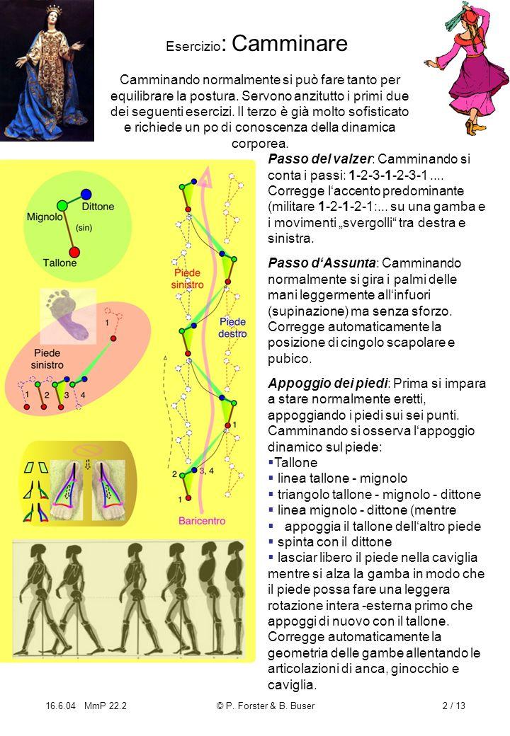 16.6.04 MmP 22.2© P. Forster & B. Buser2 / 13 Esercizio : Camminare Passo del valzer: Camminando si conta i passi: 1-2-3-1-2-3-1.... Corregge laccento