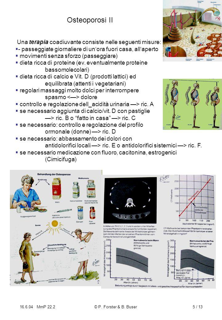 16.6.04 MmP 22.2© P. Forster & B. Buser5 / 13 Osteoporosi II Una terapia coadiuvante consiste nelle seguenti misure: - passeggiate giornaliere di unor