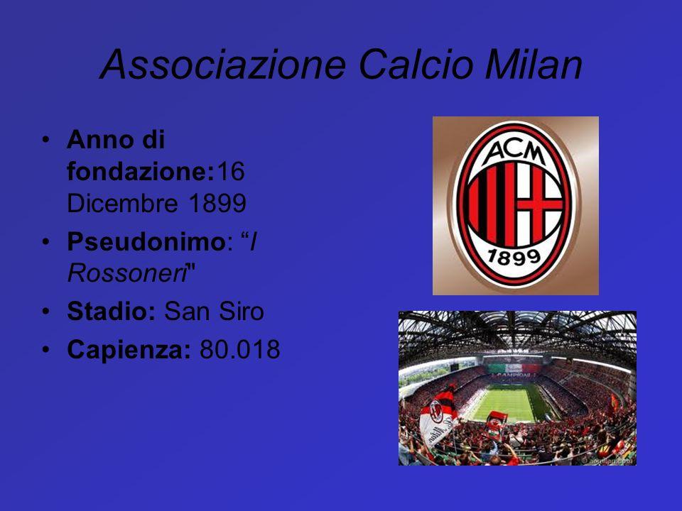 Associazione Calcio Milan Anno di fondazione:16 Dicembre 1899 Pseudonimo: I Rossoneri
