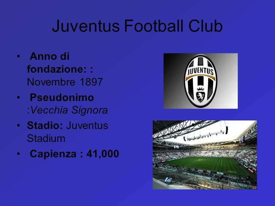 Juventus Football Club Anno di fondazione: : Novembre 1897 Pseudonimo :Vecchia Signora Stadio: Juventus Stadium Capienza : 41,000