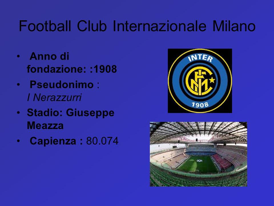 Football Club Internazionale Milano Anno di fondazione: :1908 Pseudonimo : I Nerazzurri Stadio: Giuseppe Meazza Capienza : 80.074