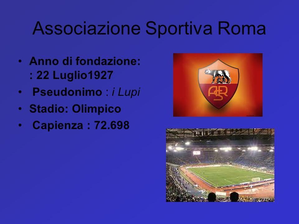 Associazione Sportiva Roma Anno di fondazione: : 22 Luglio1927 Pseudonimo : i Lupi Stadio: Olimpico Capienza : 72.698
