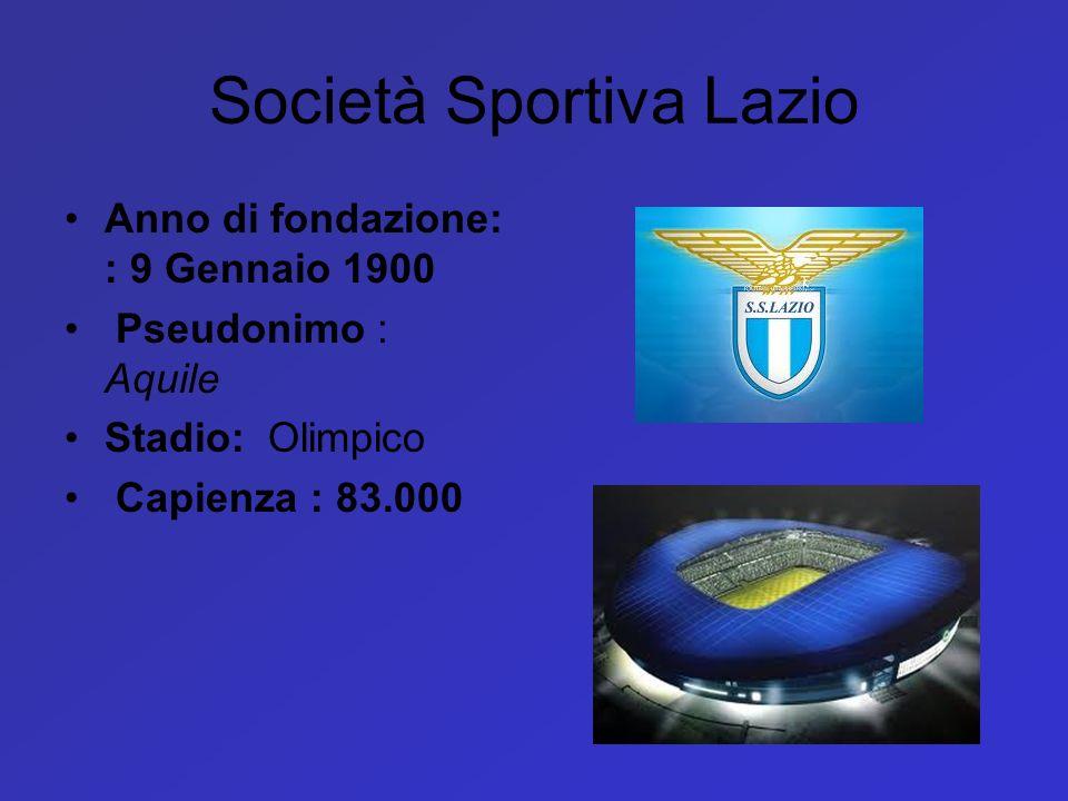 Società Sportiva Lazio Anno di fondazione: : 9 Gennaio 1900 Pseudonimo : Aquile Stadio: Olimpico Capienza : 83.000