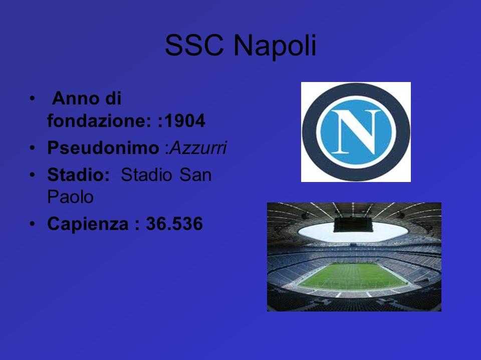 SSC Napoli Anno di fondazione: :1904 Pseudonimo :Azzurri Stadio: Stadio San Paolo Capienza : 36.536