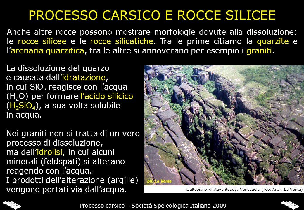 PROCESSO CARSICO E ROCCE SILICEE Processo carsico – Società Speleologica Italiana 2009 La dissoluzione del quarzo è causata dallidratazione, in cui Si