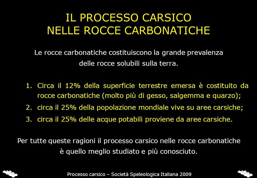 IL PROCESSO CARSICO NELLE ROCCE CARBONATICHE Le rocce carbonatiche costituiscono la grande prevalenza delle rocce solubili sulla terra. 1.Circa il 12%