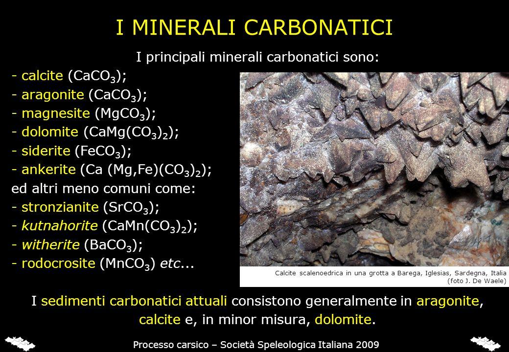 I MINERALI CARBONATICI I principali minerali carbonatici sono: - calcite (CaCO 3 ); - aragonite (CaCO 3 ); - magnesite (MgCO 3 ); - dolomite (CaMg(CO