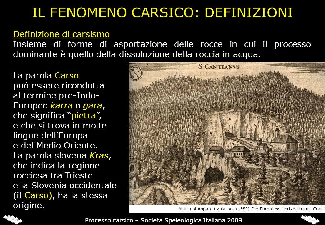 IL FENOMENO CARSICO: DEFINIZIONI La parola Carso può essere ricondotta al termine pre-Indo- Europeo karra o gara, che significa pietra, e che si trova