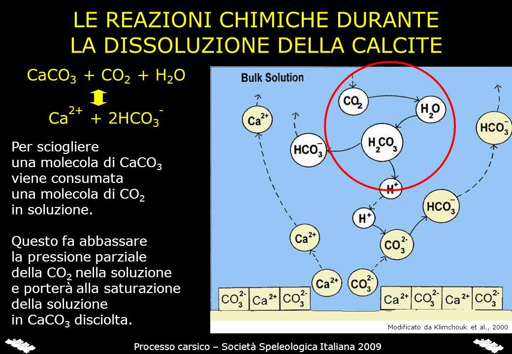 LE REAZIONI CHIMICHE DURANTE LA DISSOLUZIONE DELLA CALCITE Per sciogliere una molecola di CaCO 3 viene consumata una molecola di CO 2 in soluzione. Qu