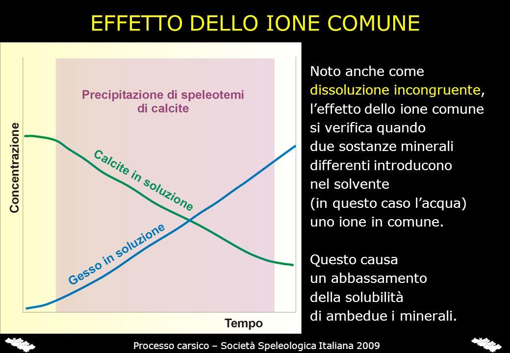 EFFETTO DELLO IONE COMUNE Processo carsico – Società Speleologica Italiana 2009 Noto anche come dissoluzione incongruente, leffetto dello ione comune