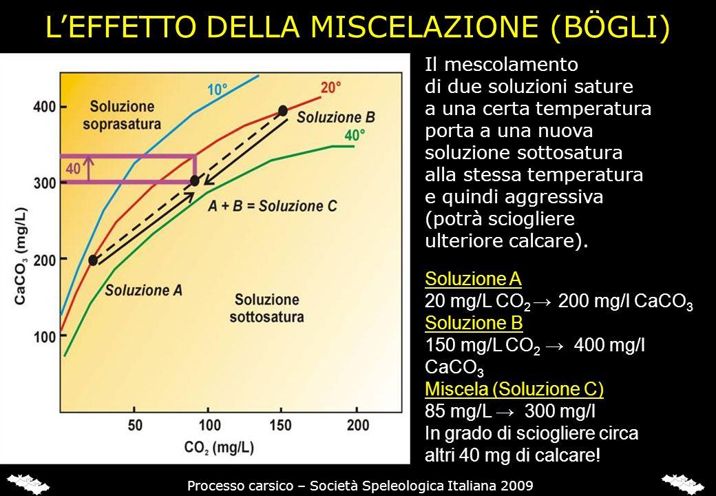 LEFFETTO DELLA MISCELAZIONE (BÖGLI) Soluzione A 20 mg/L CO 2 200 mg/l CaCO 3 Soluzione B 150 mg/L CO 2 400 mg/l CaCO 3 Miscela (Soluzione C) 85 mg/L 3