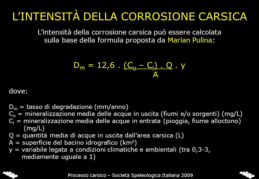 LINTENSITÀ DELLA CORROSIONE CARSICA Lintensità della corrosione carsica può essere calcolata sulla base della formula proposta da Marian Pulina: D m =