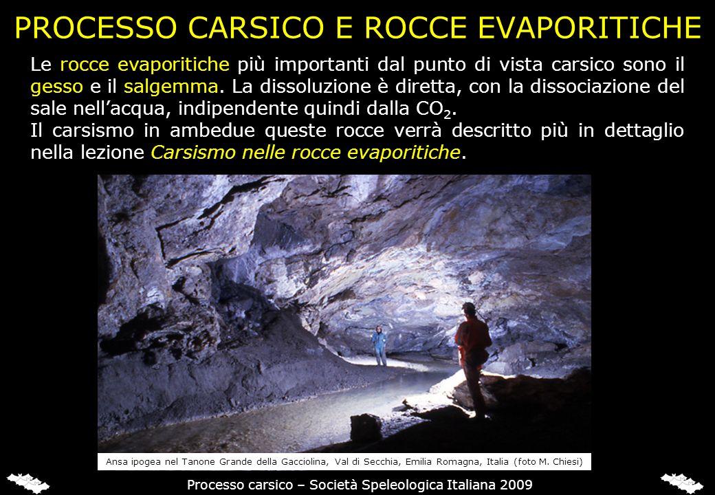 PROCESSO CARSICO E ROCCE EVAPORITICHE Le rocce evaporitiche più importanti dal punto di vista carsico sono il gesso e il salgemma. La dissoluzione è d