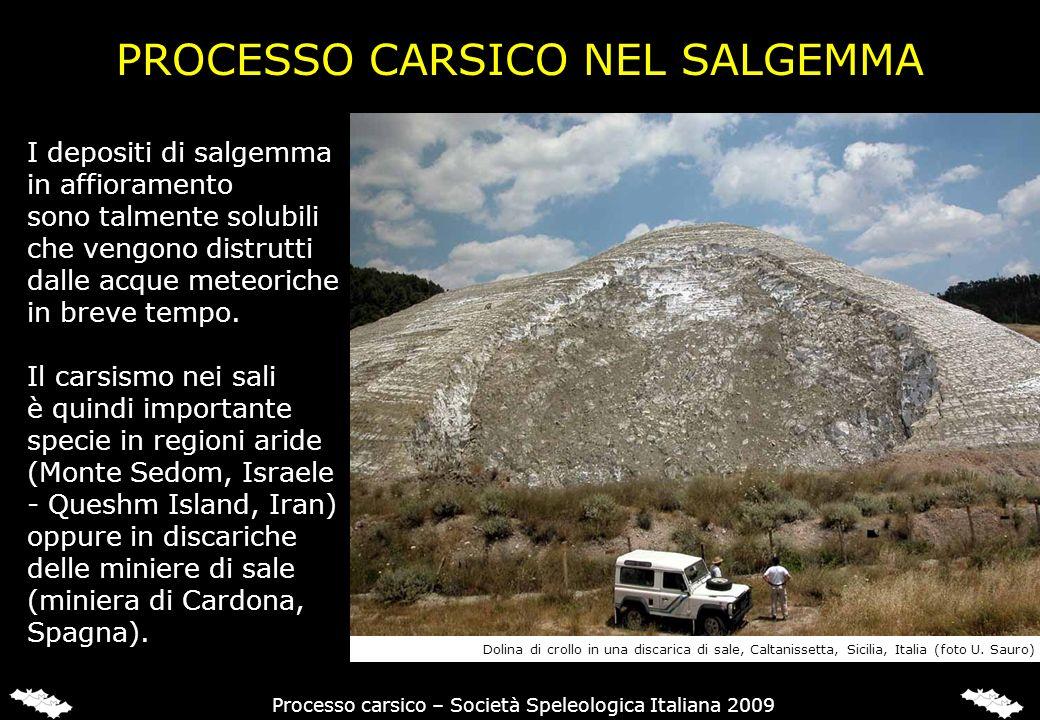 PROCESSO CARSICO NEL SALGEMMA I depositi di salgemma in affioramento sono talmente solubili che vengono distrutti dalle acque meteoriche in breve temp