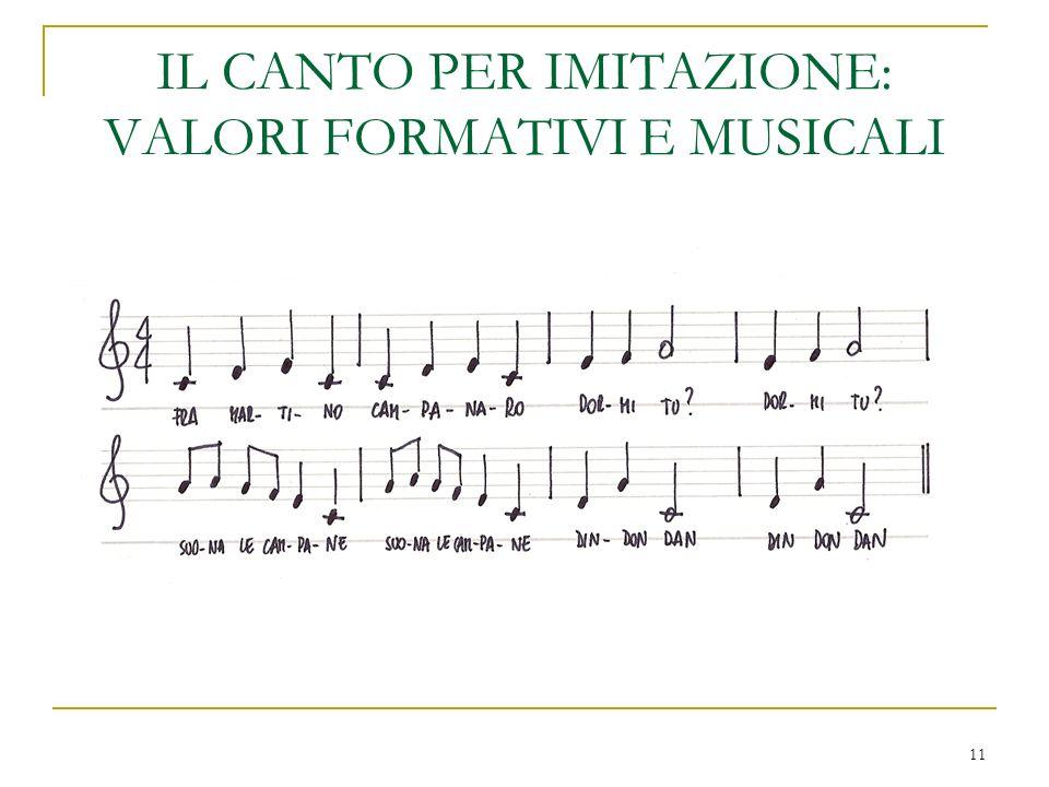11 IL CANTO PER IMITAZIONE: VALORI FORMATIVI E MUSICALI