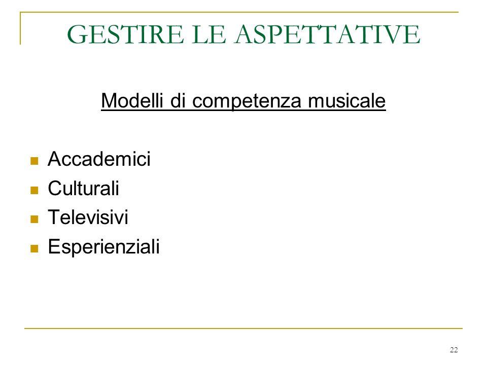 22 GESTIRE LE ASPETTATIVE Modelli di competenza musicale Accademici Culturali Televisivi Esperienziali