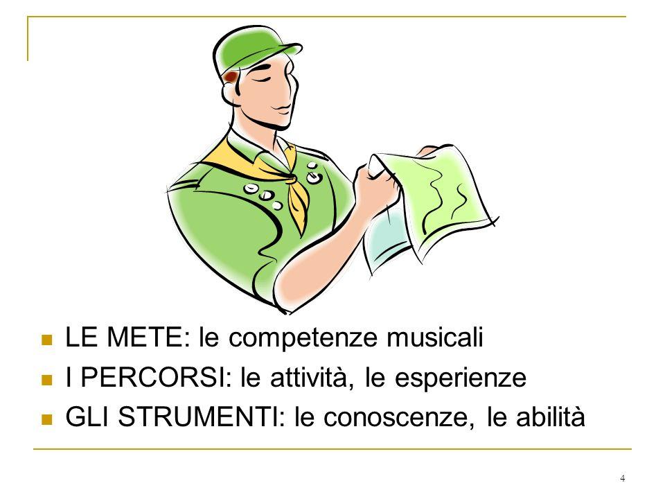 4 LE METE: le competenze musicali I PERCORSI: le attività, le esperienze GLI STRUMENTI: le conoscenze, le abilità