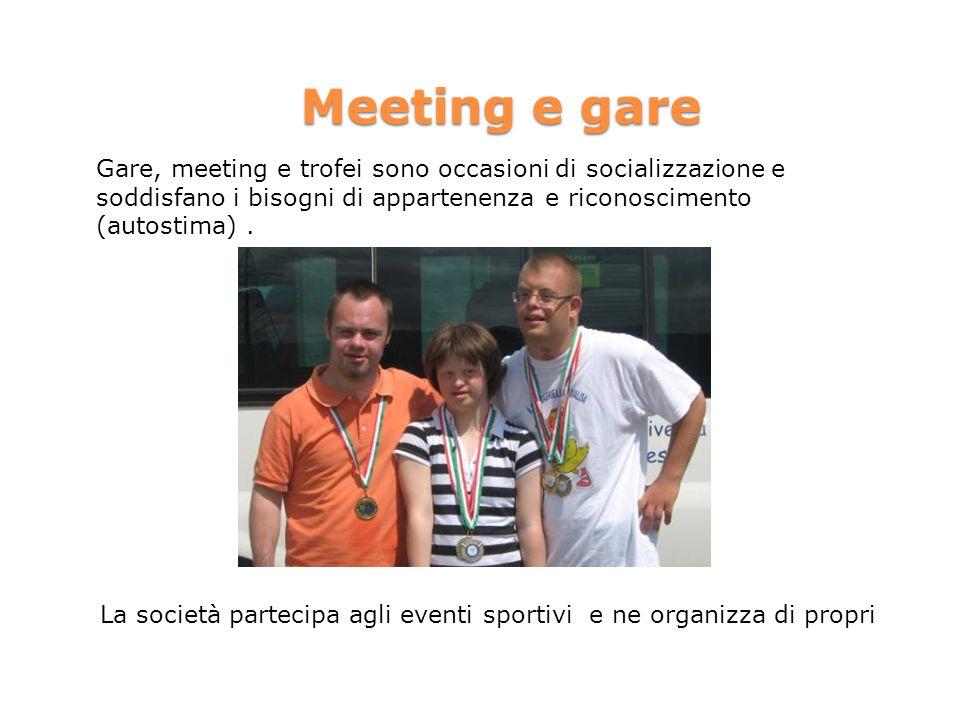 Meeting e gare Gare, meeting e trofei sono occasioni di socializzazione e soddisfano i bisogni di appartenenza e riconoscimento (autostima).