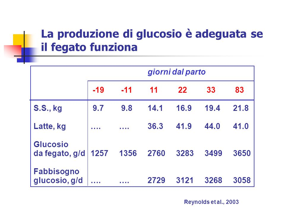 La produzione di glucosio è adeguata se il fegato funziona Reynolds et al., 2003 giorni dal parto -19 -11 11 22 33 83 S.S., kg 9.7 9.814.116.919.421.8