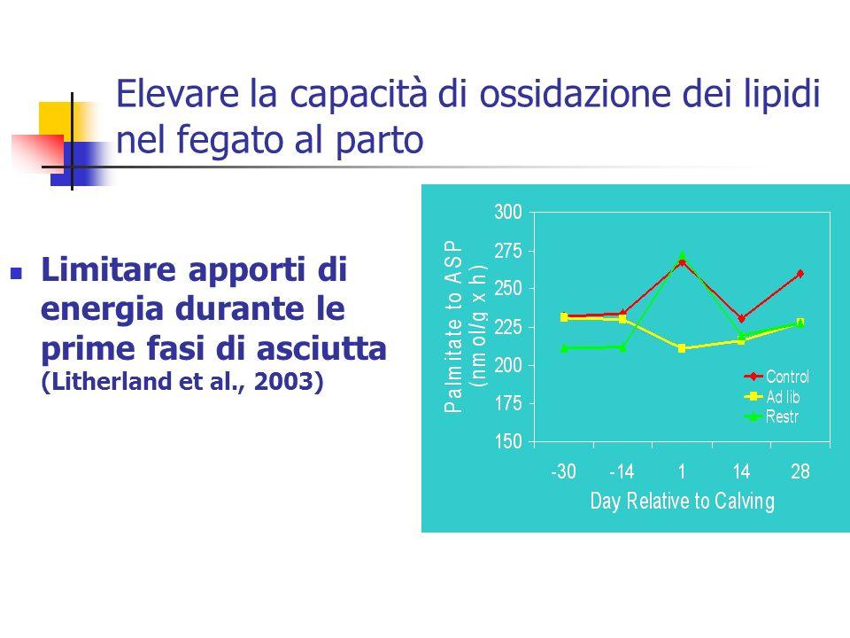 Elevare la capacità di ossidazione dei lipidi nel fegato al parto Limitare apporti di energia durante le prime fasi di asciutta (Litherland et al., 20
