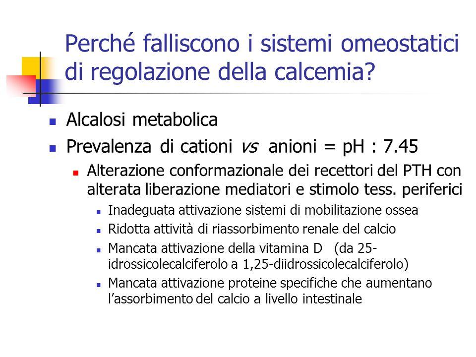 Perché falliscono i sistemi omeostatici di regolazione della calcemia? Alcalosi metabolica Prevalenza di cationi vs anioni = pH : 7.45 Alterazione con